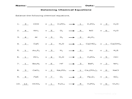 balancing chemical equations practice sheet problems chapter 8 worksheet