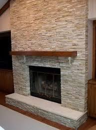gray stone tile fireplace home design ideas
