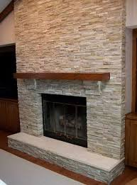 gray stone tile fireplace home design ideas