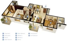 "Three "" "" Bedroom Apartment House Plans   Architecture  amp  Design  single story   bedroom house"