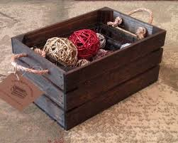 Wooden Crate With Handles Small Wood Crate With Rope Handles 15l X 10w X