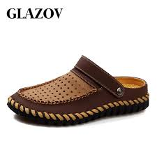 new high quality split leather sandals men flat heel summer shoes 2018 mens sandals male casual brand shoes soft beach sandals malaysia