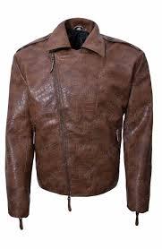 mens alligator brown leather jacket for biker