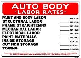 Auto Body Labor Rates 20x28 Heavy Duty Plastic Sign