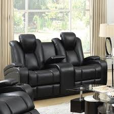 coaster delange faux leather power reclining loveseat in black