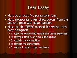 fear essay topic select one of the following authors bradstreet  2 fear