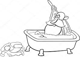 black and white cartoon ilration of taking a bath after for coloring book vector by izakowski