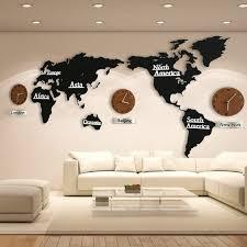 Details About Fashin Diy 3d Silent Wood World Map Wall Clock Home Office Decoration Art Clocks