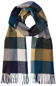 Gant Mens D2 Multi Check Wool Scarf Blue Atlantic Deep
