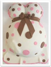 Pink Apron Confections Baby Bump Cake with Footprint in pink and