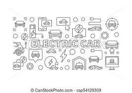 概念 電気 車 イラスト 線 Ev 旗 あるいは 最小である