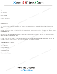 Letter To Renew Employment Contract Sample Semioffice Com