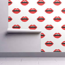 Wallpaper Lips Design Peel And Stick Removable Wallpaper Lips Lips Red Black