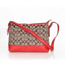 Coach Convertible Hippie In Signature Medium Red Crossbody Bags AZA