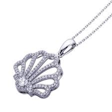platinum plated sterling silver round cz pave set sea shell pendant necklace
