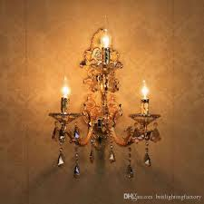 european style golden wall lamp led e14 candle bulb mounted indoor crystal lights for home bedside wall light candle bulb living room lights candle bulb