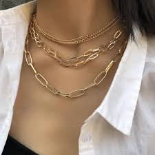 2019 5 Layer Multilayer Geometric Punk Chain Necklace For ...