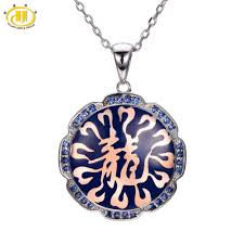 2019 hutang created blue sapphire enamel pendant 925 sterling silver necklace chinese dragon fine fashion jewelry gift new from cukojew 59 74 dhgate com