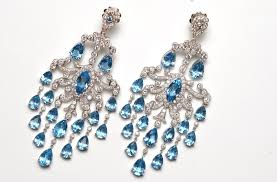 magnificent chandelier style blue topaz and diamond earrings
