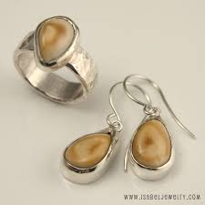 elk ivory ring earrings set