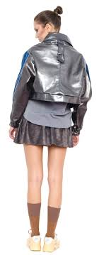a03 jackets silver leather jacket