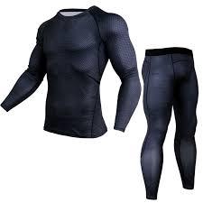 New Mens Running Sport Compression t shirts Pants Suits Jogging ...
