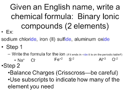 Summary Writing and Naming Compounds. Given an English name, write ...