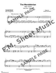 The mandalorian (main theme) easy. The Mandalorian Easy Piano Abridged By Ludwig Goransson F M Sheet Music Pop Arrangements By Jennifer Eklund
