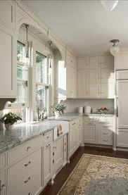 white kitchen cabinets gray granite countertops dark wood floors persian rug