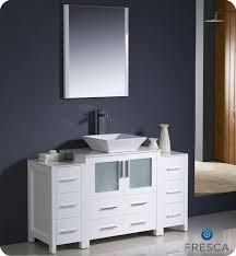 fresca torino 54 white modern bathroom vanity w 2 side cabinets vessel sink