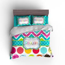 rainbow chevron polka dots personalized duvet or comforter