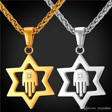 whole star of david pendant for women men jewelry 18k real gold plated stainless steel hamsa hand lucky necklace pendant gold jewelry rose gold necklace