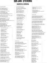 Lyrics Sufjan Stevens Carrie Lowell Album On Imgur