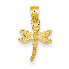 14k yellow gold dragonfly pendant k3256