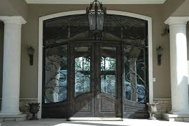 black glass front door. Exterior. Double Glass Front Doors And Craving Black Metal With Wooden Frame Combined By Door