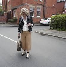 river island camel culottes zara white shirt all saints leather jacket zara studded