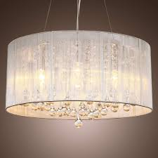 drum chandelier with crystals new lightinthebox modern silver crystal pendant light in cylinder shade 1