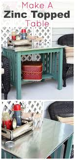diy instructions for making a zinc top table dining table could be used inside or