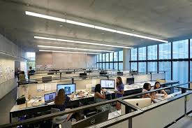 industrial look office interior design. Industrial Look Office Interior Design Style Call Center Ideas With Concrete Ceiling And Modern Shared Desks Featuring M