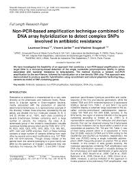non pcr based amplification technique combined to dna array  non pcr based amplification technique combined to dna array hybridization to detect complex snps involved in antibiotic resistance pdf available