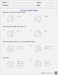 Worksheet Central Angles and Arcs Geometry Cp Answers – bibulous.me