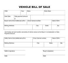 example of bill of sale bill of sale for a vehicle template business