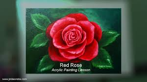 acrylic painting lesson red rose flower by jm lisondra