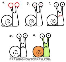 How to Draw <b>Cartoon Snail</b> from Lowercase Letter a - Easy Step by ...