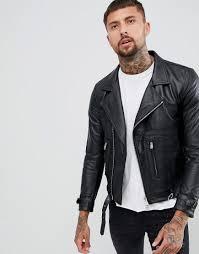 replay leather biker jacket zip detail in black black