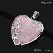 whole whole elegant pink rose quartz heart flower pendant bead fit necklace making jewelry silver pendants from wd 3 34 dhgate com