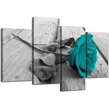 display gallery item 5 4 part set of extra large black white canvas picture display gallery item 6 on white floral canvas wall art with canvas prints uk of teal rose in black white for your bathroom