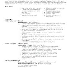 Resumes For Babysitters Resume Babysitter How To Put Babysitting On A Objective Examples