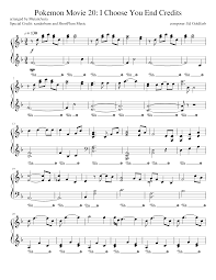 Pokémon Movie 20: I Choose You End Credits Sheet music for Piano ...