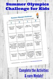 print off the free summer olympic challenge for kids which includes an activity grid and printable medals